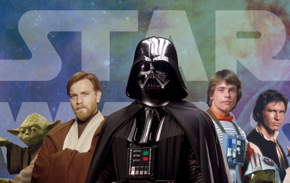 Star Wars characters: Darth Vader, Obi-Wan, Luke Skywalker, Han Solo and Yoda.
